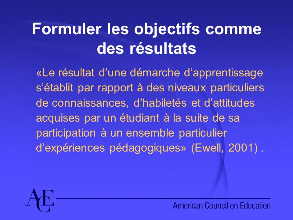 Formuler les objectifs comme des résultats «Le résultat dune démarche dapprentissage sétablit par rapport à des niveaux particuliers de connaissances, dhabiletés et dattitudes acquises par un étudiant à la suite de sa participation à un ensemble particulier dexpériences pédagogiques» (Ewell, 2001).