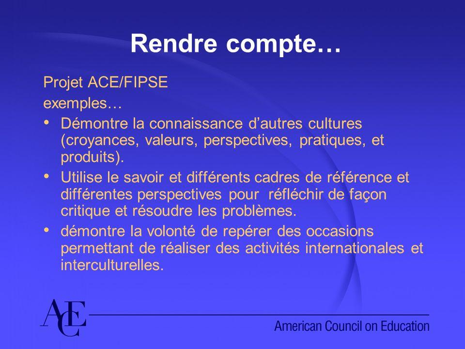 Rendre compte… Projet ACE/FIPSE exemples… Démontre la connaissance dautres cultures (croyances, valeurs, perspectives, pratiques, et produits).