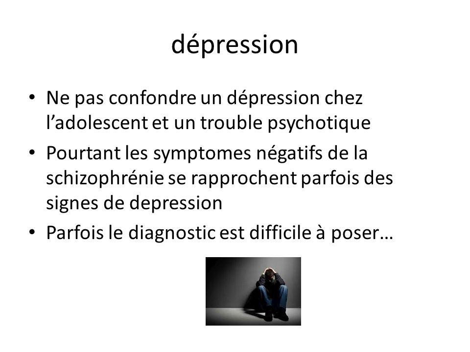 dépression Ne pas confondre un dépression chez ladolescent et un trouble psychotique Pourtant les symptomes négatifs de la schizophrénie se rapprochent parfois des signes de depression Parfois le diagnostic est difficile à poser…