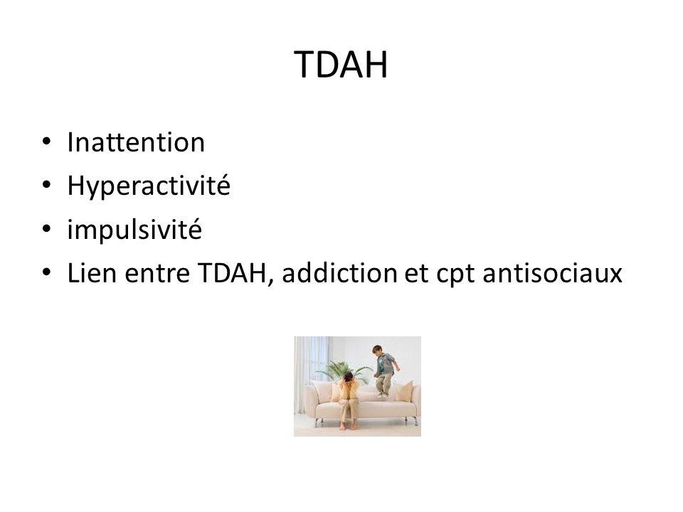 TDAH Inattention Hyperactivité impulsivité Lien entre TDAH, addiction et cpt antisociaux