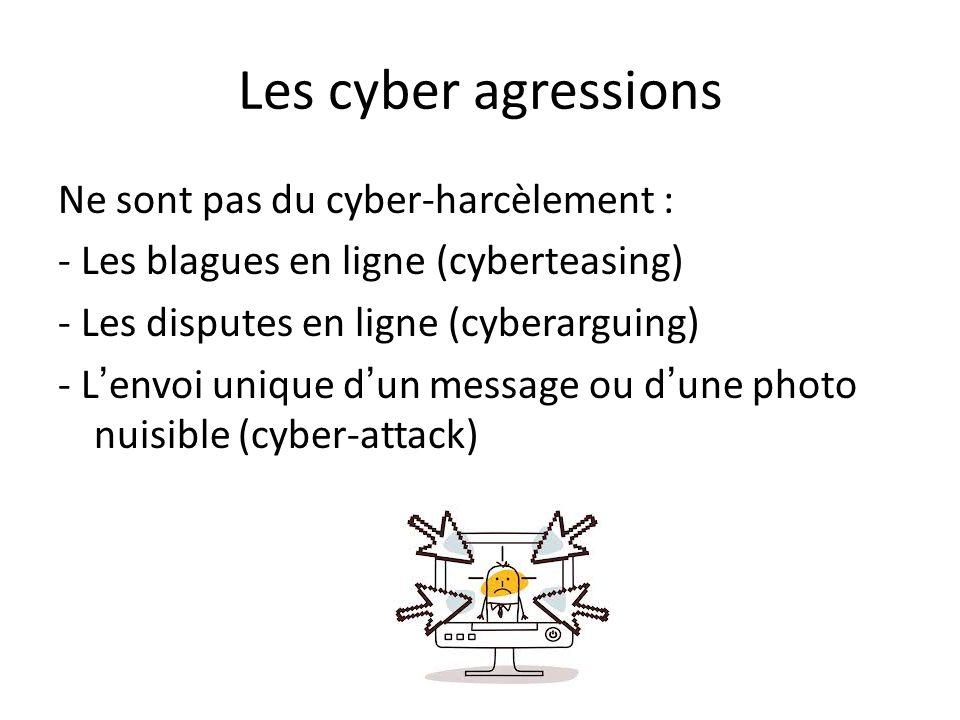 Les cyber agressions Ne sont pas du cyber-harcèlement : - Les blagues en ligne (cyberteasing) - Les disputes en ligne (cyberarguing) - Lenvoi unique dun message ou dune photo nuisible (cyber-attack)