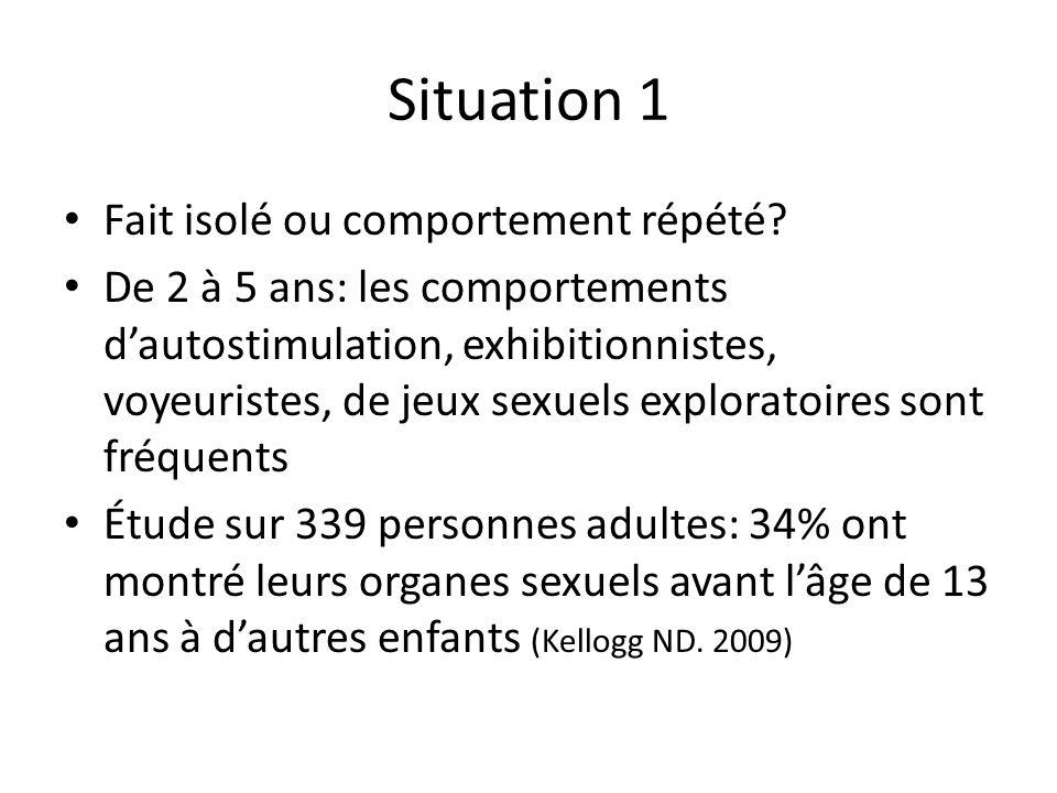 Situation 1 Fait isolé ou comportement répété.