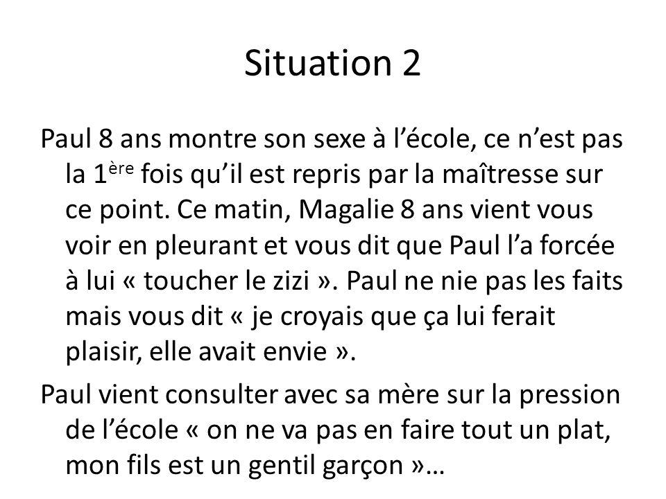 Situation 2 Paul 8 ans montre son sexe à lécole, ce nest pas la 1 ère fois quil est repris par la maîtresse sur ce point.
