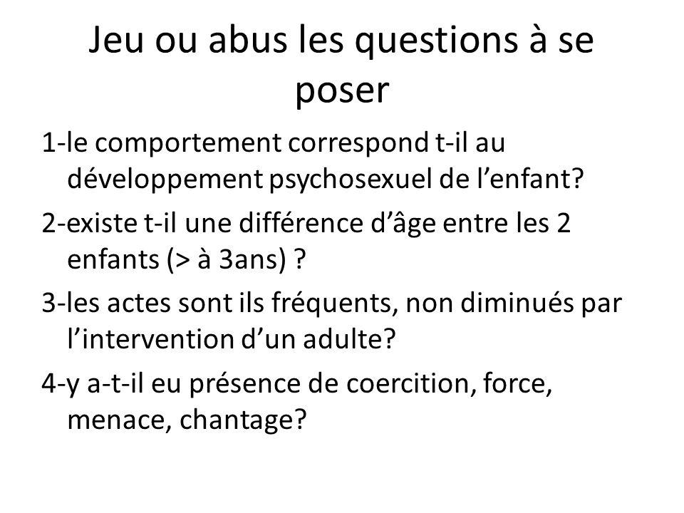 Jeu ou abus les questions à se poser 1-le comportement correspond t-il au développement psychosexuel de lenfant.
