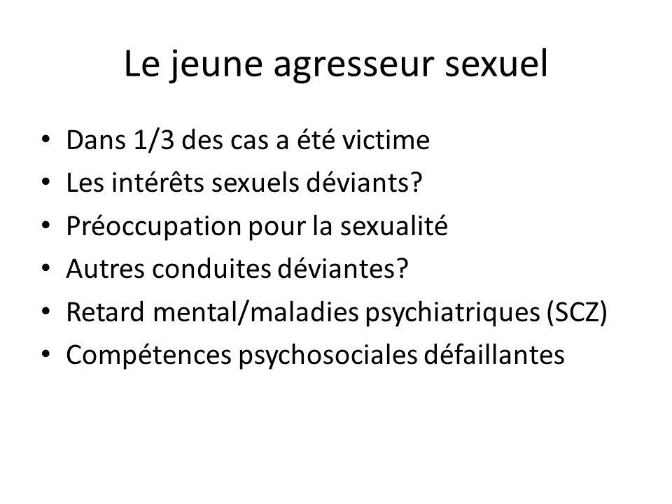 Le jeune agresseur sexuel Dans 1/3 des cas a été victime Les intérêts sexuels déviants.