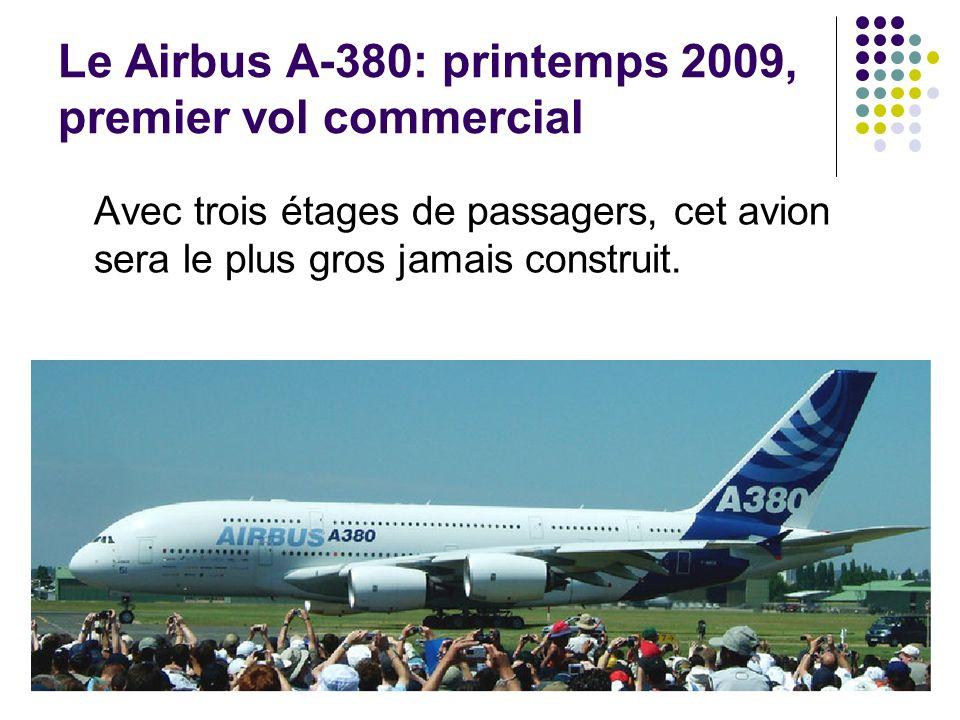 Le Airbus A-380: printemps 2009, premier vol commercial Avec trois étages de passagers, cet avion sera le plus gros jamais construit.