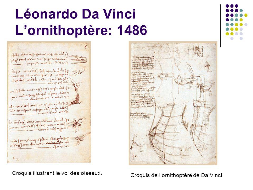 Croquis illustrant le vol des oiseaux. Croquis de lornithoptère de Da Vinci. Léonardo Da Vinci Lornithoptère: 1486