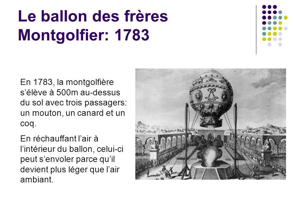 Le ballon des frères Montgolfier: 1783 En 1783, la montgolfière sélève à 500m au-dessus du sol avec trois passagers: un mouton, un canard et un coq. E