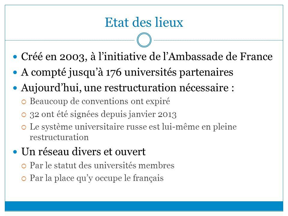 Etat des lieux Créé en 2003, à linitiative de lAmbassade de France A compté jusquà 176 universités partenaires Aujourdhui, une restructuration nécessa