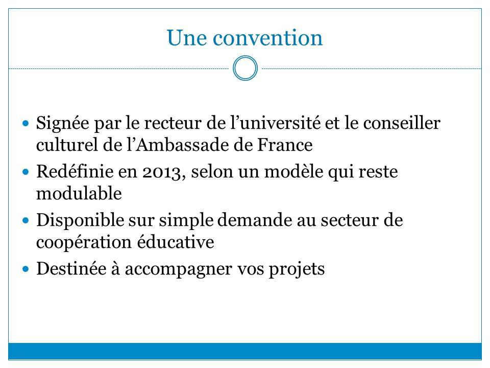 Une convention Signée par le recteur de luniversité et le conseiller culturel de lAmbassade de France Redéfinie en 2013, selon un modèle qui reste mod