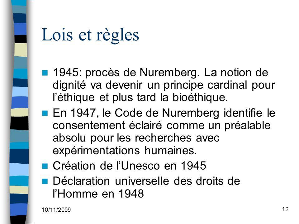 10/11/2009 12 Lois et règles 1945: procès de Nuremberg.