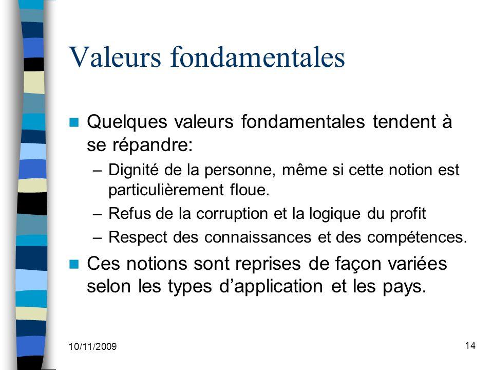 10/11/2009 14 Valeurs fondamentales Quelques valeurs fondamentales tendent à se répandre: –Dignité de la personne, même si cette notion est particulièrement floue.
