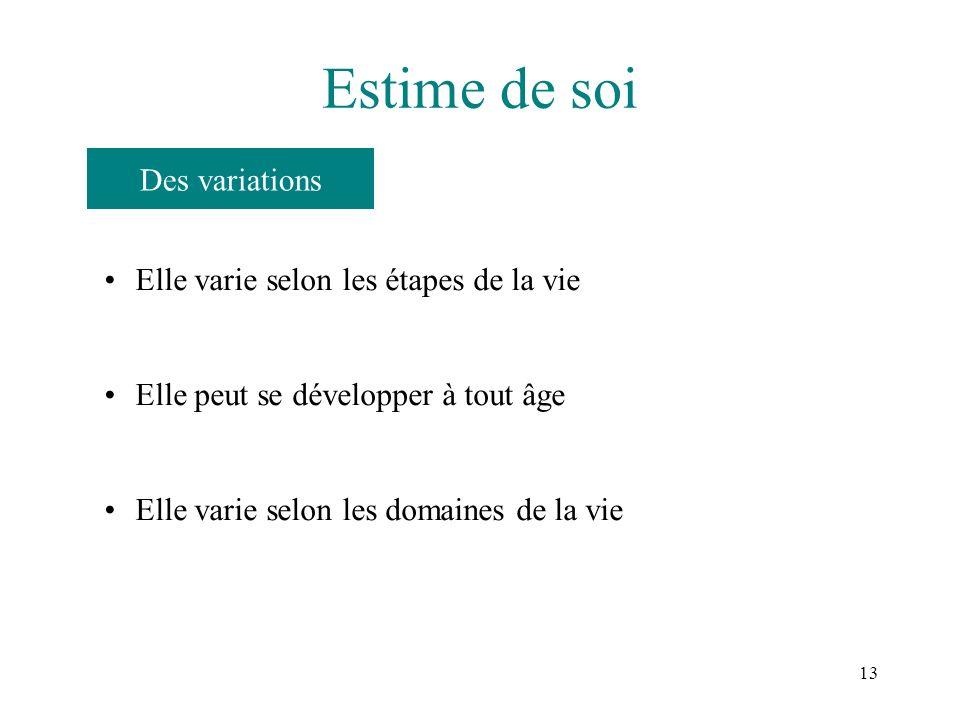 13 Estime de soi Elle varie selon les étapes de la vie Elle peut se développer à tout âge Elle varie selon les domaines de la vie Des variations