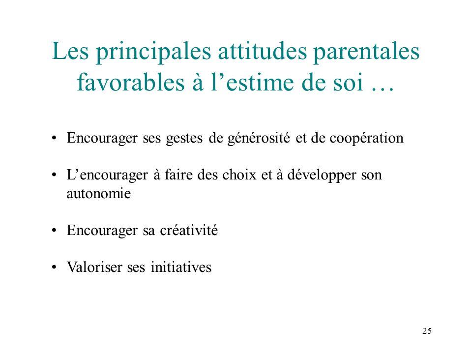25 Les principales attitudes parentales favorables à lestime de soi … Encourager ses gestes de générosité et de coopération Lencourager à faire des ch