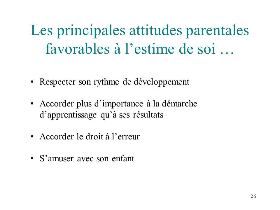 26 Les principales attitudes parentales favorables à lestime de soi … Respecter son rythme de développement Accorder plus dimportance à la démarche da