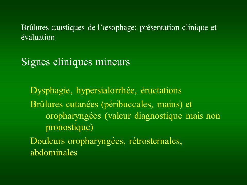 Brûlures caustiques de lœsophage: complications Complications précoces: HD (chute descarre) Perforation avec tableau de médiastinite ou de péritonite, sepsis De linhalation: SDRA, alvéolite hémorragique, fistule oeso-trachéale Complications différées: Sténoses caustiques (PEC spécialisée possible dès J21) avec risque néoplasique tardif Inhalations itératives (atteinte du carrefour AD)