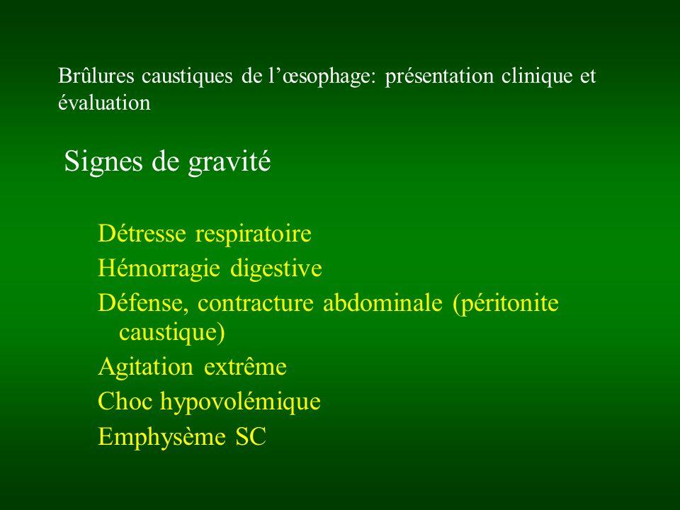 Brûlures caustiques de lœsophage: présentation clinique et évaluation Signes de gravité Détresse respiratoire Hémorragie digestive Défense, contractur