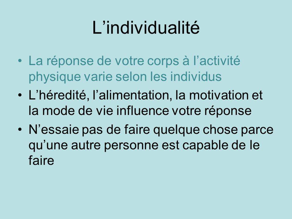 Lindividualité La réponse de votre corps à lactivité physique varie selon les individus Lhéredité, lalimentation, la motivation et la mode de vie infl