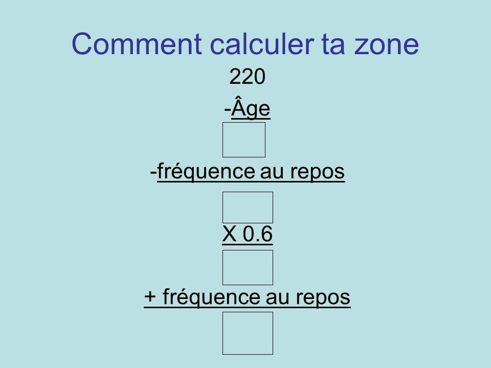Comment calculer ta zone 220 -Âge -fréquence au repos X 0.6 + fréquence au repos