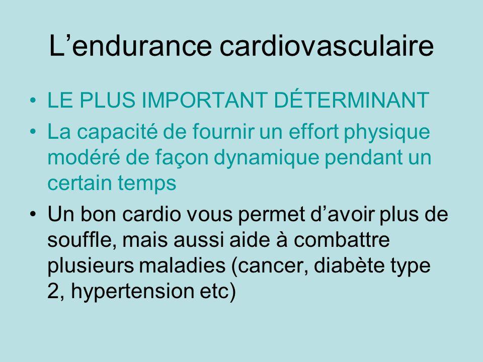 Lendurance cardiovasculaire LE PLUS IMPORTANT DÉTERMINANT La capacité de fournir un effort physique modéré de façon dynamique pendant un certain temps