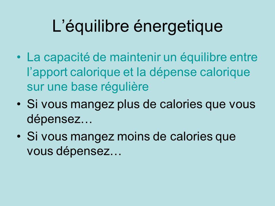 Léquilibre énergetique La capacité de maintenir un équilibre entre lapport calorique et la dépense calorique sur une base régulière Si vous mangez plu