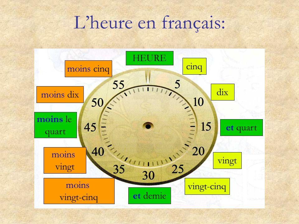 Regarde la montre et réponds aux questions suivantes: 1 ) À quelle heure tu vas dormir?À minuit et quart. 2 ) À quelle heure cest la récréation?À midi