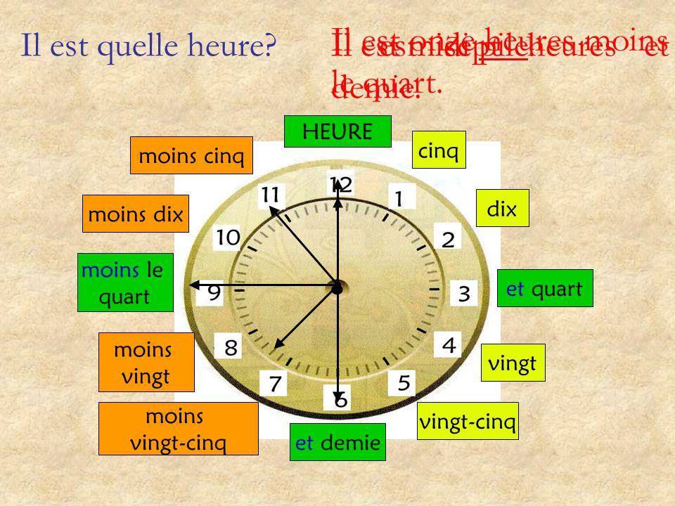 Il est quelle heure? et quart et demie moins le quart cinq dix vingt vingt-cinq moins vingt-cinq moins vingt moins dix moins cinq HEURE Il est une heu
