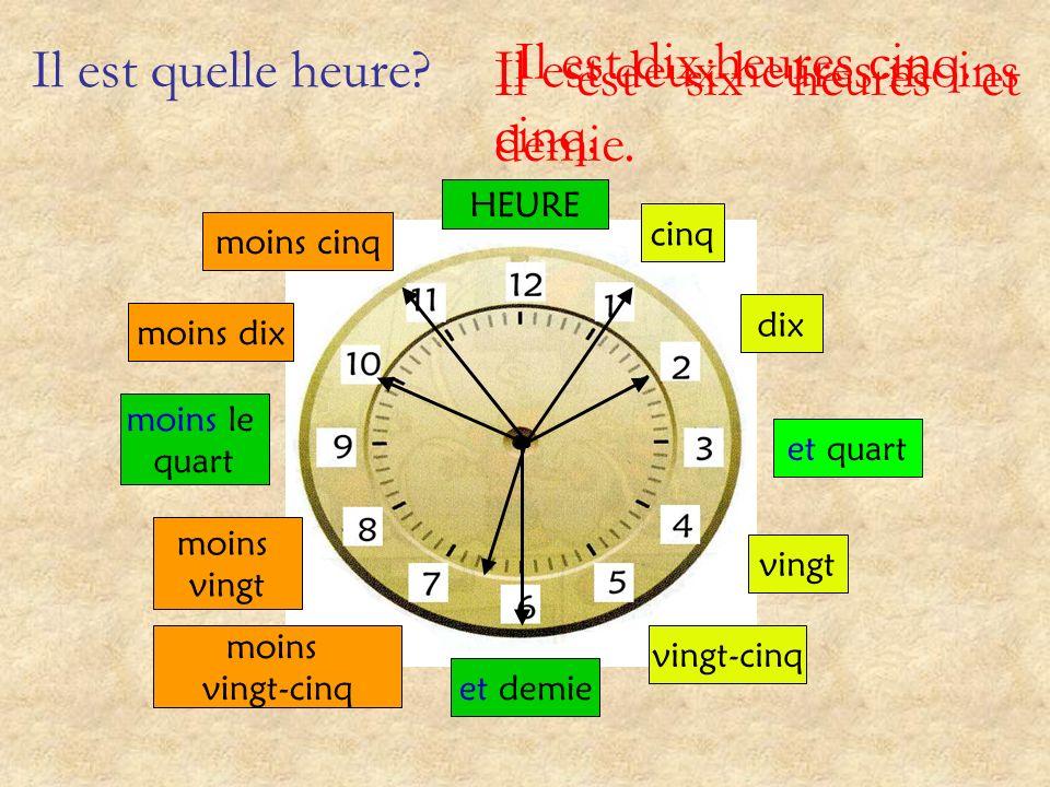 Il est quelle heure? et quart et demie moins le quart cinq dix vingt vingt-cinq moins vingt-cinq moins vingt moins dix moins cinq HEURE Il est onze he