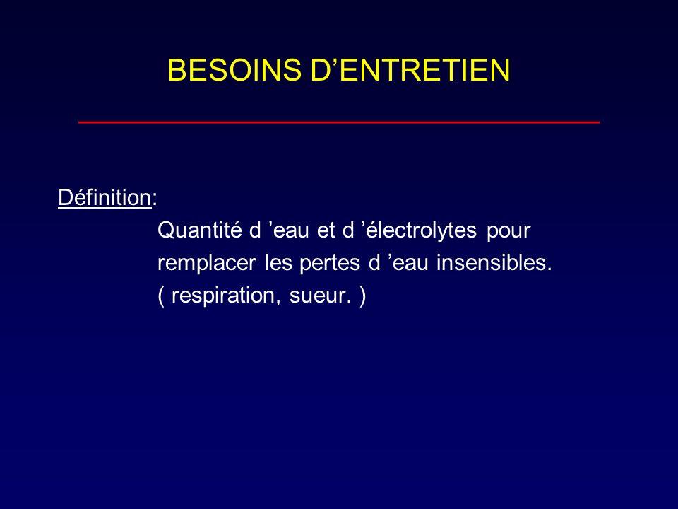 BESOINS DENTRETIEN _______________________________ Définition: Quantité d eau et d électrolytes pour remplacer les pertes d eau insensibles. ( respira
