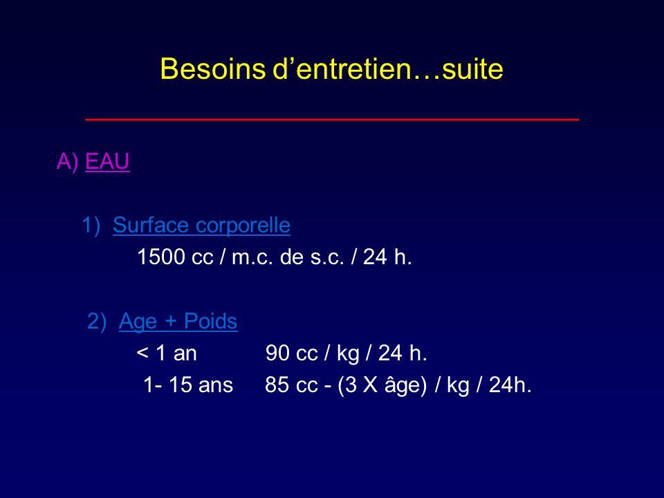 Besoins dentretien…suite ______________________________ A) EAU 1) Surface corporelle 1500 cc / m.c. de s.c. / 24 h. 2) Age + Poids < 1 an 90 cc / kg /