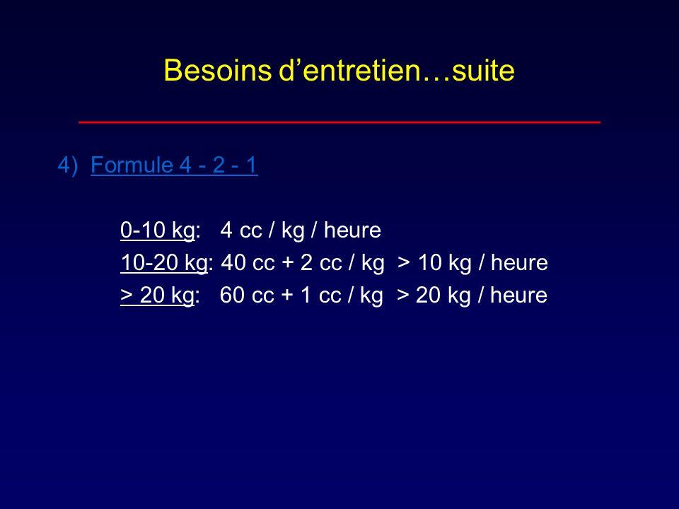 Besoins dentretien…suite _______________________________ 4) Formule 4 - 2 - 1 0-10 kg: 4 cc / kg / heure 10-20 kg: 40 cc + 2 cc / kg > 10 kg / heure >