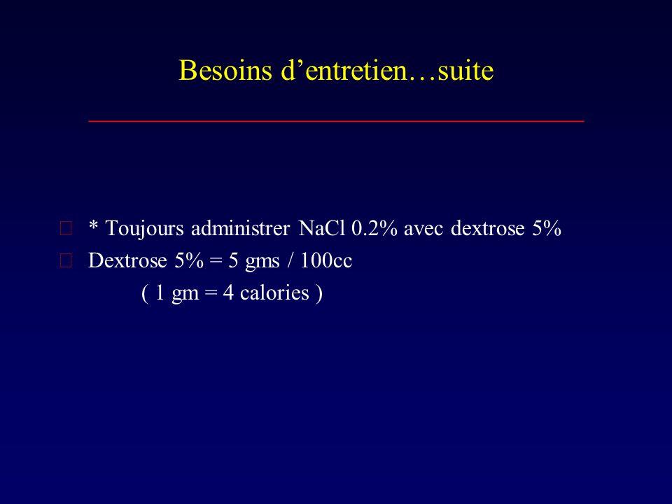 Besoins dentretien…suite _________________________________  * Toujours administrer NaCl 0.2% avec dextrose 5%  Dextrose 5% = 5 gms / 100cc ( 1 gm =