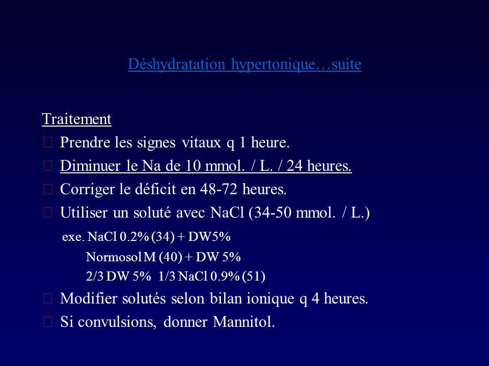 Déshydratation hypertonique…suite Traitement Prendre les signes vitaux q 1 heure. Diminuer le Na de 10 mmol. / L. / 24 heures. Corriger le déficit