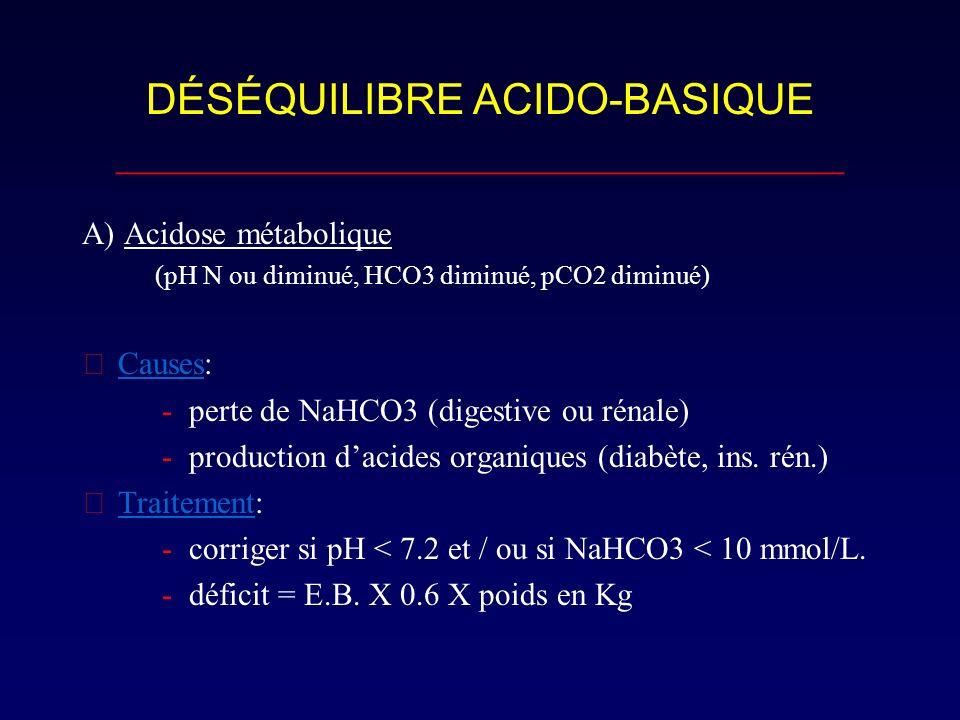 DÉSÉQUILIBRE ACIDO-BASIQUE __________________________________ A) Acidose métabolique (pH N ou diminué, HCO3 diminué, pCO2 diminué) Causes: - perte de