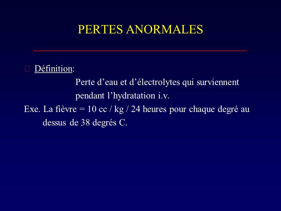 PERTES ANORMALES __________________________________ Définition: Perte deau et délectrolytes qui surviennent pendant lhydratation i.v. Exe. La fièvre