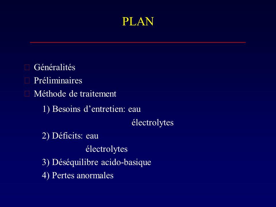 Déficits…suite ___________________________________ B) ELECTROLYTES 1) Déshydratation isotonique (la plus fréquente: 85%) ---> Perte en eau = Perte en Na ( Na 130 - 150 mmol / L.) Traitement: Soluté avec Na (+/- 50 mmol / L.) + DW 5% exe.