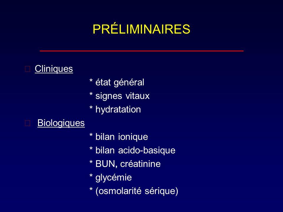 PRÉLIMINAIRES _____________________________ Cliniques * état général * signes vitaux * hydratation  Biologiques * bilan ionique * bilan acido-basiqu