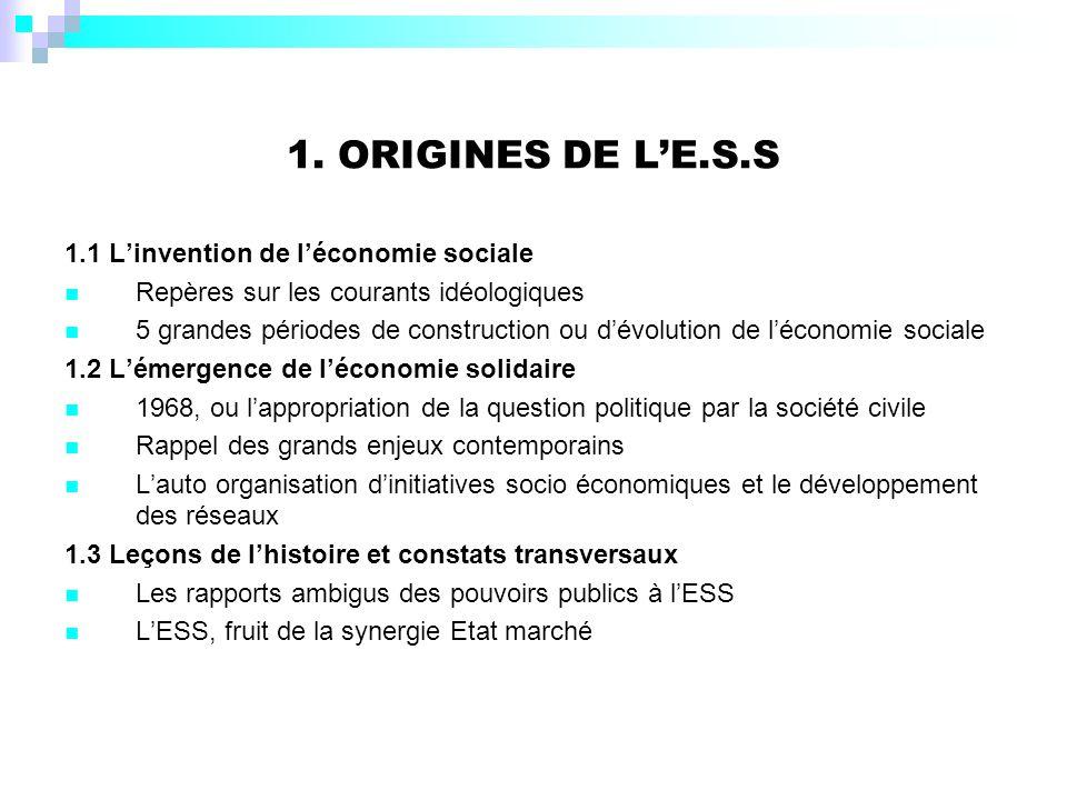 1. ORIGINES DE LE.S.S 1.1 Linvention de léconomie sociale Repères sur les courants idéologiques 5 grandes périodes de construction ou dévolution de lé