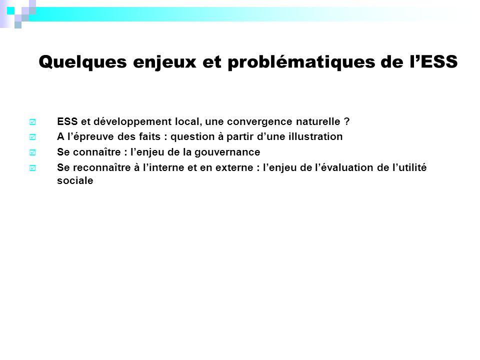 Quelques enjeux et problématiques de lESS ESS et développement local, une convergence naturelle .