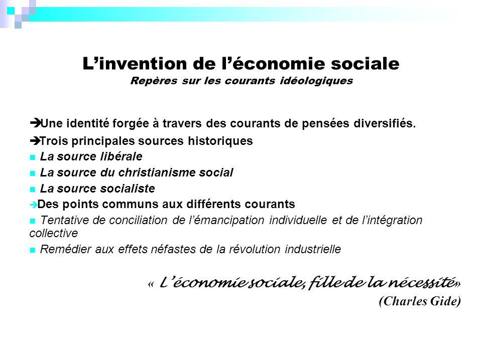 Linvention de léconomie sociale Repères sur les courants idéologiques Une identité forgée à travers des courants de pensées diversifiés.