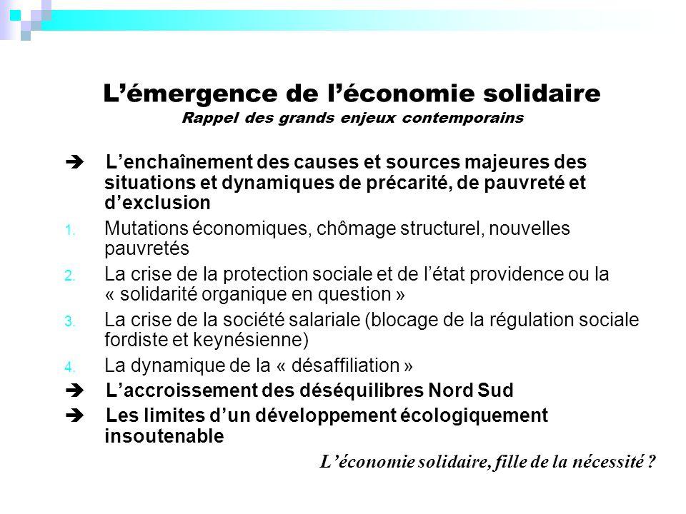 Lémergence de léconomie solidaire Rappel des grands enjeux contemporains Lenchaînement des causes et sources majeures des situations et dynamiques de précarité, de pauvreté et dexclusion 1.
