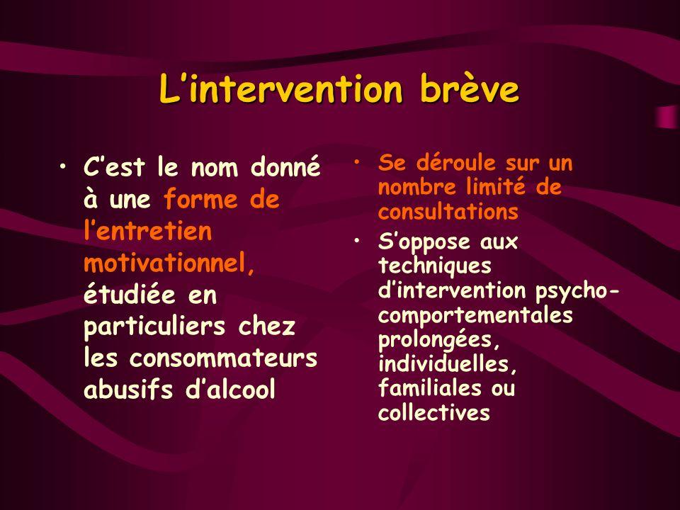 Lintervention brève Cest le nom donné à une forme de lentretien motivationnel, étudiée en particuliers chez les consommateurs abusifs dalcool Se dérou