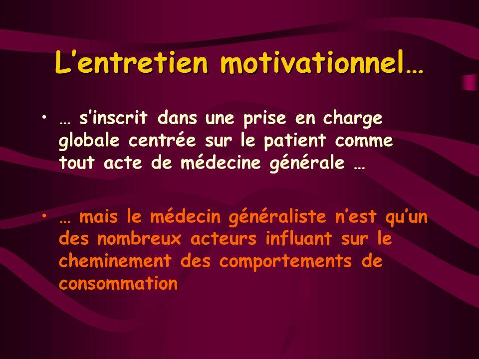 Lentretien motivationnel… … sinscrit dans une prise en charge globale centrée sur le patient comme tout acte de médecine générale … … mais le médecin