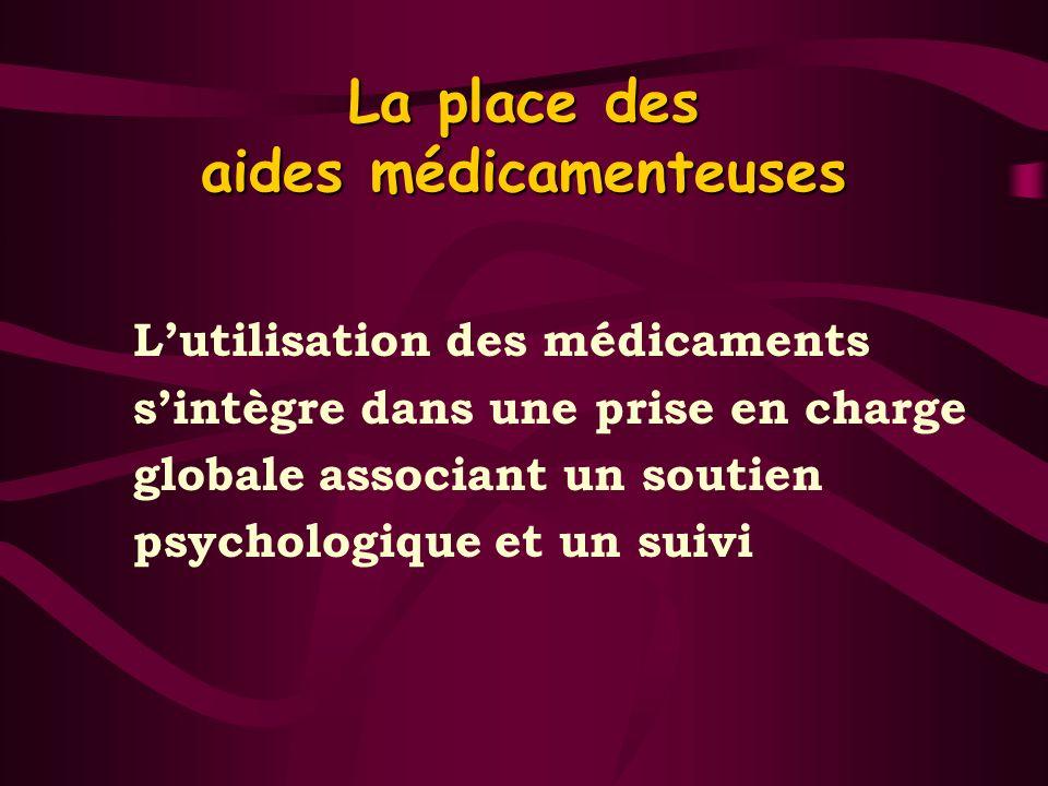 La place des aides médicamenteuses Lutilisation des médicaments sintègre dans une prise en charge globale associant un soutien psychologique et un sui