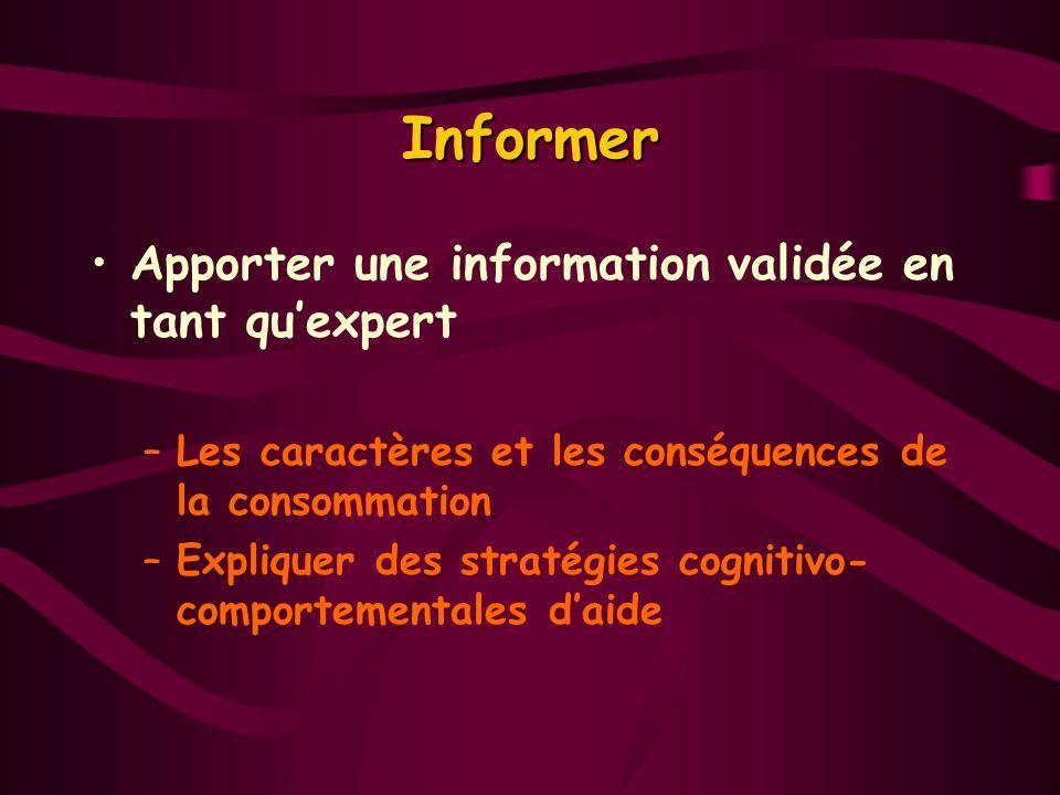 Informer Apporter une information validée en tant quexpert –Les caractères et les conséquences de la consommation –Expliquer des stratégies cognitivo-