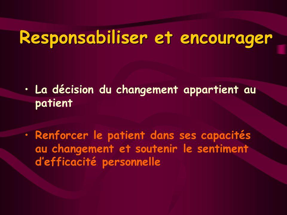 Responsabiliser et encourager La décision du changement appartient au patient Renforcer le patient dans ses capacités au changement et soutenir le sen