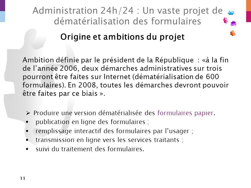 11 Administration 24h/24 : Un vaste projet de dématérialisation des formulaires Origine et ambitions du projet Ambition définie par le président de la
