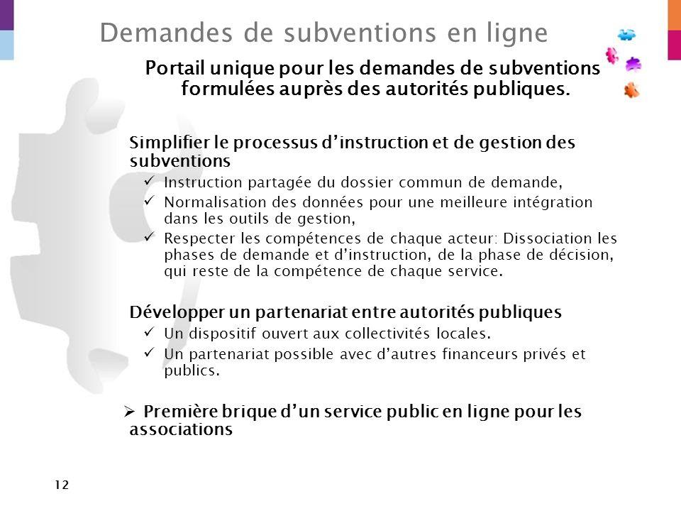 12 Demandes de subventions en ligne Portail unique pour les demandes de subventions formulées auprès des autorités publiques. Simplifier le processus
