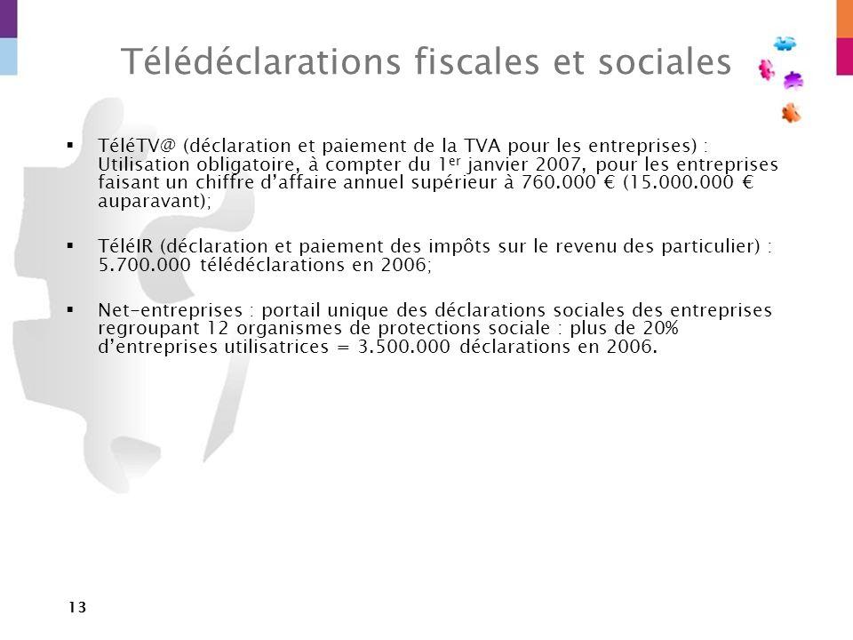 13 Télédéclarations fiscales et sociales TéléTV@ (déclaration et paiement de la TVA pour les entreprises) : Utilisation obligatoire, à compter du 1 er