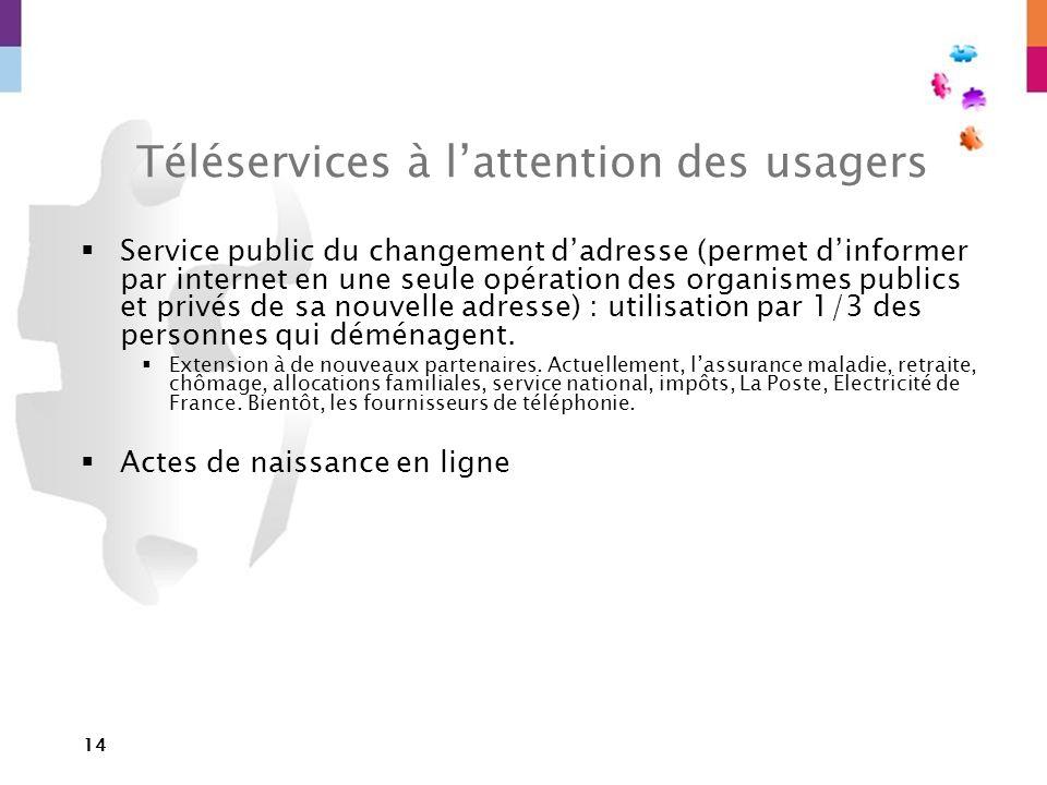14 Téléservices à lattention des usagers Service public du changement dadresse (permet dinformer par internet en une seule opération des organismes pu